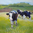Holstein Friesian Cows Painting by MikeJory