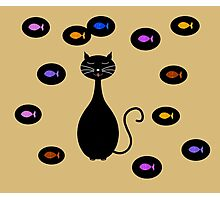 Black Yellow Cat and Fish Illustration  Photographic Print