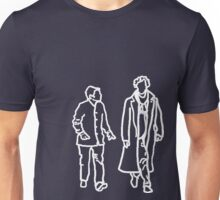 Sherlock and John-white outline Unisex T-Shirt