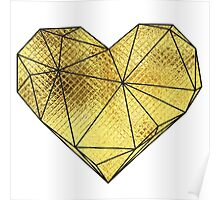 Geo Heart - Gold Foil Poster
