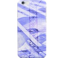 Double exposure high voltage power lines with hundred dollar bill background iPhone Case/Skin