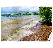 Waves at Llandegfedd Reservoir Poster
