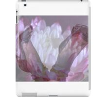 Double exposure female legs in fishnet stockings with flower background iPad Case/Skin
