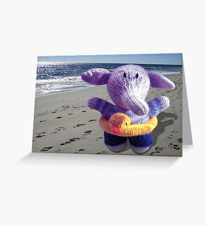 Knitted Beach Toy Elephant Greeting Card