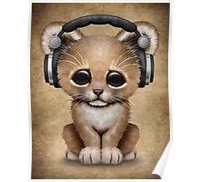 Cute Lion Cub Dj Wearing Headphones  Poster