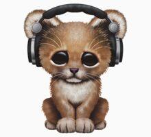 Cute Lion Cub Dj Wearing Headphones  Kids Tee