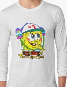 """Am I A Pretty Girl?"" SpongeBob Squarepants Long Sleeve T-Shirt"
