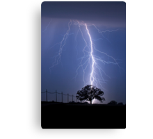 Lightning Bolts Striking Behind Tree Canvas Print