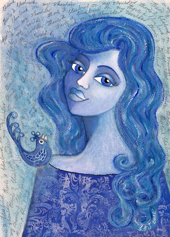 Bluebird on my Shoulder by Lisa Frances Judd~QuirkyHappyArt