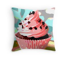 Chocolate Cupcakes with Pink Buttercream Throw Pillow