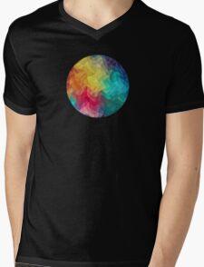 Abstract Color Wave Flash Mens V-Neck T-Shirt