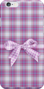 pink plaid iPhone case by Moonlake