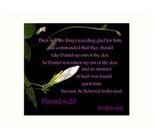 Daniel 6:23 - Because he BELIEVED in his God Art Print
