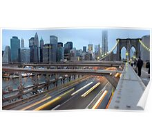 Evening rush-hour on the Brooklyn Bridge Poster