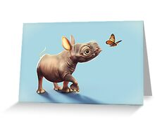 Baby Rhino and Butterfly Greeting Card