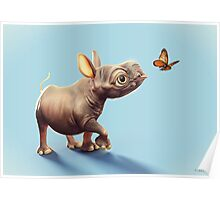 Baby Rhino and Butterfly Poster