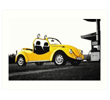 Yellow volkswagen beetle car Art Print