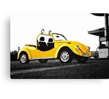 Yellow volkswagen beetle car Canvas Print