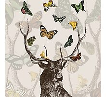 The Stag & Butterflies Photographic Print