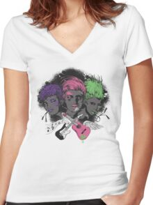 Sheberus Women's Fitted V-Neck T-Shirt