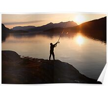 Angling at a Norwegian fjord Poster
