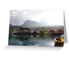 Fishing boats in a Norwegian fjord Greeting Card