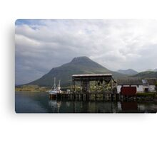 Fishing boats in a Norwegian fjord Canvas Print