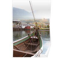 Norwegian Norrlandsboat in a harbor Poster
