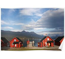 Red houses in a Norwegian fjord Poster