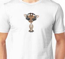 Cute Baby Giraffe Dj Wearing Headphones  Unisex T-Shirt