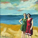 Friends On the Beach - women beach scene oil painting by LindaAppleArt