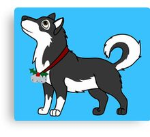 Black Alaskan Malamute with Silver Jingle Bells & Holly Canvas Print