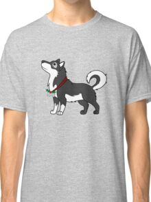 Black Alaskan Malamute with Silver Jingle Bells & Holly Classic T-Shirt