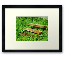 A Rustic Seat By An Irish Lake Framed Print