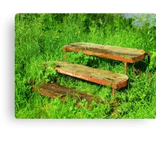 A Rustic Seat By An Irish Lake Canvas Print