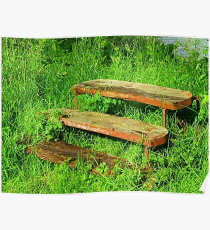 A Rustic Seat By An Irish Lake Poster