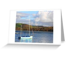 Little Blue Sailing Boat Greeting Card