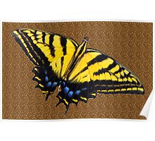 Butterfly on Leopard Print  Poster