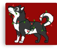 Black Alaskan Malamute with Red & Green Christmas Lights Canvas Print