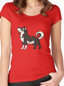 Black Alaskan Malamute with Red & Green Christmas Lights Women's Fitted Scoop T-Shirt