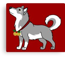 Gray Alaskan Malamute with Gold Jingle Bells & Holly Canvas Print