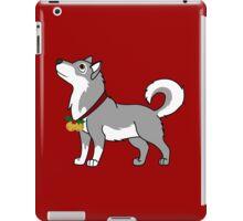 Gray Alaskan Malamute with Gold Jingle Bells & Holly iPad Case/Skin