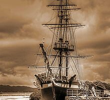 The Brig Amity in Sepia by Eve Parry