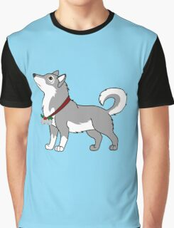 Gray Alaskan Malamute with Silver Jingle Bells & Holly Graphic T-Shirt