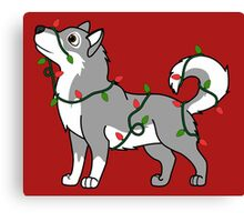 Gray Alaskan Malamute with Red & Green Christmas Lights Canvas Print
