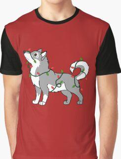 Gray Alaskan Malamute with Red & Green Christmas Lights Graphic T-Shirt