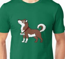 Red Alaskan Malamute with Silver Jingle Bells & Holly Unisex T-Shirt
