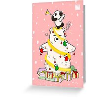 Panda And Polar Bear Christmas Tree Greeting Card