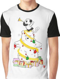 Panda And Polar Bear Christmas Tree Graphic T-Shirt
