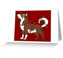 Red Alaskan Malamute with Red & Green Christmas Lights Greeting Card